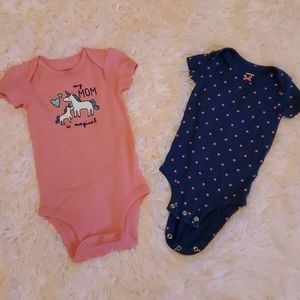 🦄Carters pink and blue onsies 6m